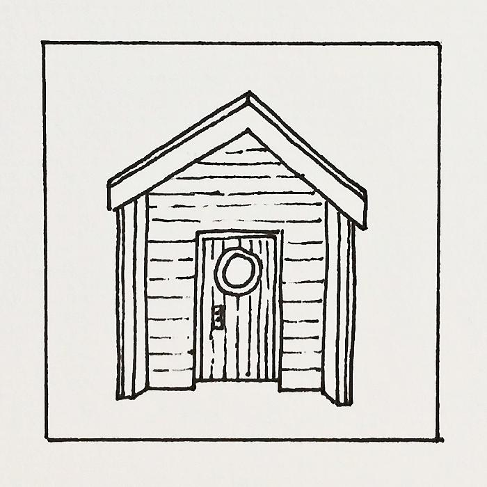 Beach Hut Line Drawing Sketch Coloring Page