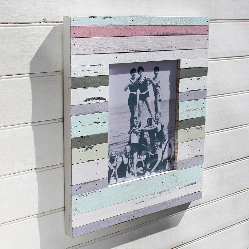 Striped beach hut style photo frame buy the sea for Beach hut style