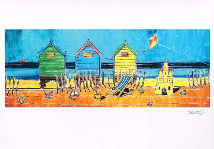 Beach Hut Coastal Card | Stuart Roy