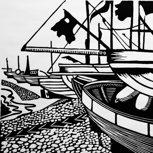 Hastings Beach Linocut Lino Print