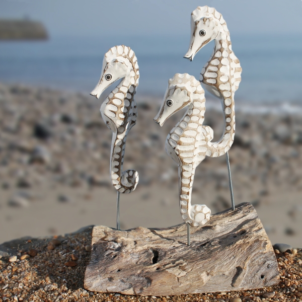 Seahorse Family Wooden Seahorse Hand Carved Seahorse