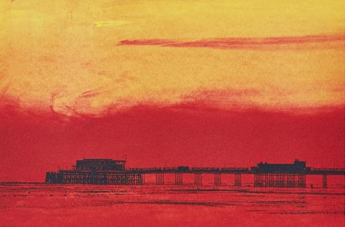 Sunset at Worthing Pier Card