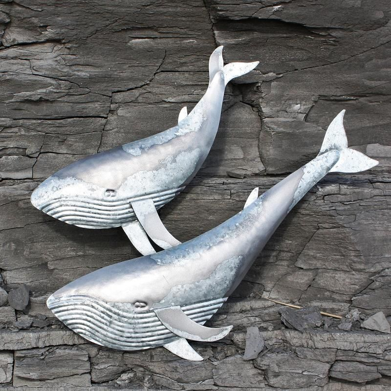 Two Blue Whales | Metal Wall Hanging